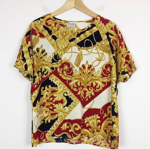 Vintage Italian baroque silk blend t-shirt blouse
